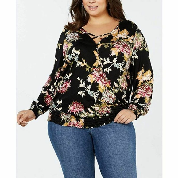 Style & Co Tops - Style & Co Womens 1X I8-03  Black Floral Wrap Top
